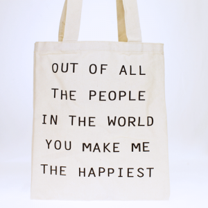 LOF LOA ECO135 shopping tote You Make Me The Happiest beige