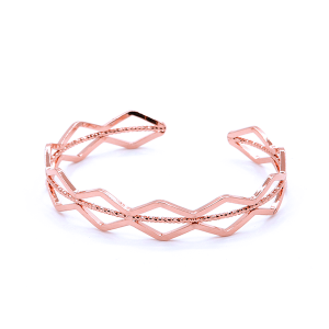 (Bracelet 698g 01 CiTY) Wave diamond cuff rose gold