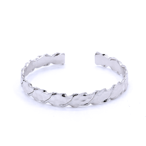 (Bracelet 705 01 CiTY) cuff band hexagon pattern silver