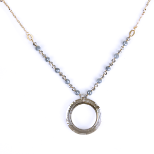(Necklace 1730 01 CiTY) Glass hoop  bead chain gray