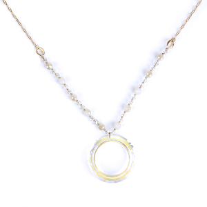 (Necklace 1541e 01 CiTY) Glass hoop  bead chain clear