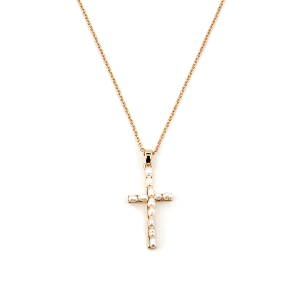 Necklace 1522a 01 CiTY chain bead cream cross gold