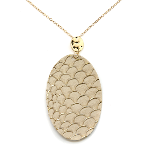 Necklace 353t 01 CiTY oval leather scales gold accent ivory