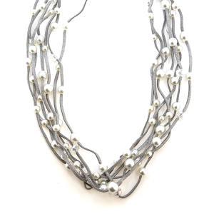 Necklace 279a 01 CiTY Leather 32 string glitter cream beads silver