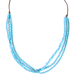 (Necklace 394 01 Velvet) Multi layer string bead necklace turquoise
