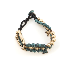 Bracelet 417a 01 CiTY tribal bead band patina