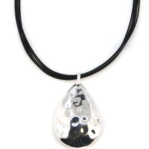 Necklace 393a 01 CiTY string tear drop silver
