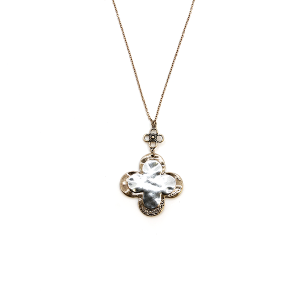 Necklace 296a 01 CiTY clover dangle pendant gold silver