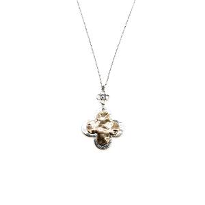 Necklace 295 01 CiTY clover dangle pendant silver gold