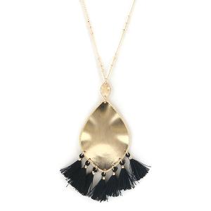 Necklace 520f 01 Influence tear drop dangle tassel necklace black