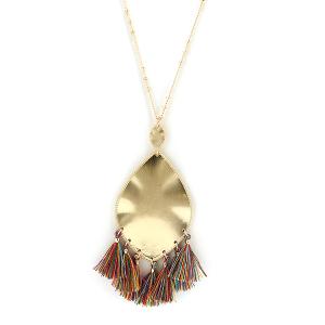 Necklace 156a 01 Influence tear drop dangle tassel necklace multicolor
