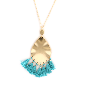 Necklace 495b 01 Influence tear drop dangle tassel necklace turquoise