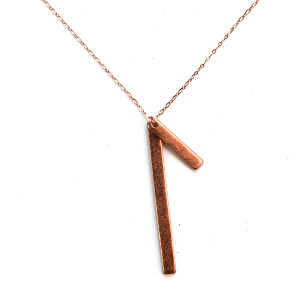 Necklace 1374 01 Influence minimal double bar necklace rose gold