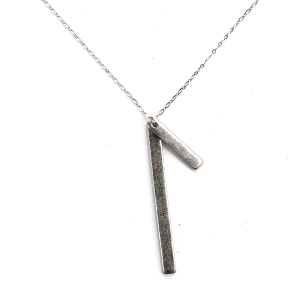 Necklace 1372 01 Influence minimal double bar necklace silver