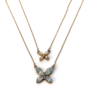 Necklace 1045 01 Influence two layer butterfly necklace gem ivory