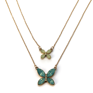 Necklace 1047 01 Influence two layer butterfly necklace gem mint