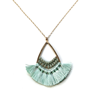 Necklace 1052 01 Influence tear drop contemporary tassel necklace turquoise