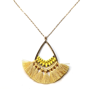 Necklace 1049 01 Influence tear drop contemporary tassel necklace yellow