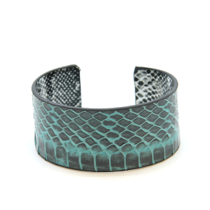Bracelet 431c 01 CiTY snake scale leather cuff teal