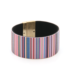 Bracelet 334a 01 CiTY stripe bracelet magnetic band purple multi