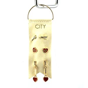 Earring 2974a 01 City 3 stud earring set heart valentines