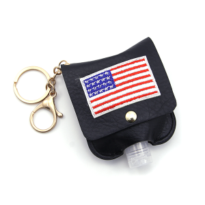 Hand Sanitizer Keychain 016 USA American Flag Black