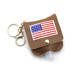 Hand Sanitizer Keychain 015 USA American Flag Brown