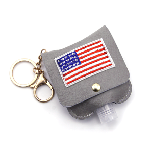 Hand Sanitizer Keychain 014 USA American Flag Gray