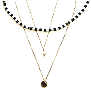 Necklace 2209a 01 CITY Contemporary three layer necklace black