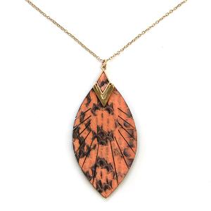 Necklace 931 01 CITY feather fringe leather necklace orange