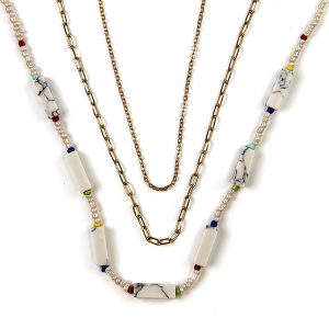 Necklace 487 01 City stone bead neckalce chain 3 layer white