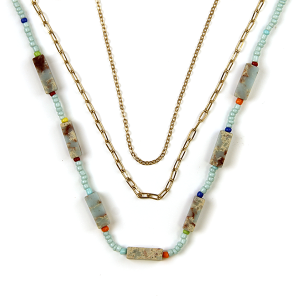 Necklace 654 01 City stone bead neckalce chain 3 layer turquoise