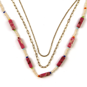 Necklace 565 01 City stone bead neckalce chain 3 layer pink