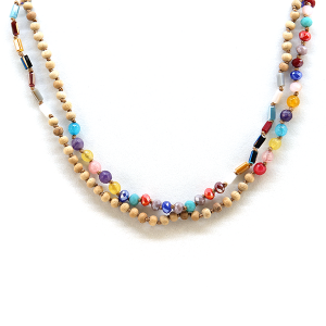 Necklace 1242 01 Velvet wood bead long necklace multicolor