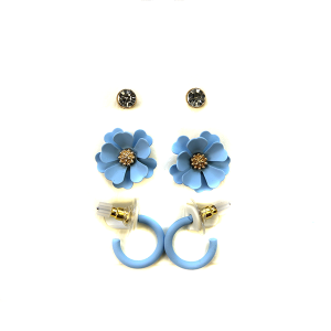 Earring 2777a 04 Clover 3 set earrings stud floral blue