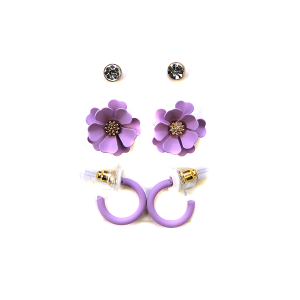 Earring 2790c 04 Clover 3 set earrings stud floral purple