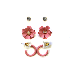 Earring 2782b 04 Clover 3 set earrings stud floral pink