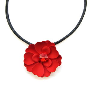 Neckalce 1383f 04 La Mia floral gem choker necklace red