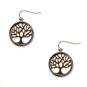 Earring 431e 06 V Tree of Life earrings silver gold