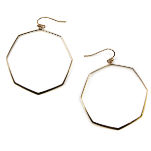 Earring 423i 06 V octagon hoop earrings gold