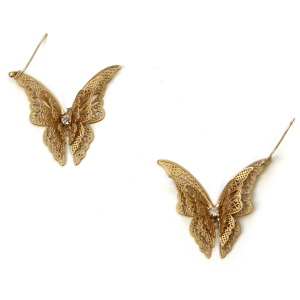 Earring 409e 06 V Butterfly Earrings Gold