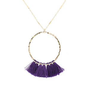 Fringe fan hoop necklace purple