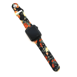 Watch Band 023a 08 silicon rubber 38mm 40mm floral black