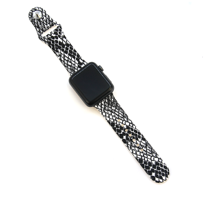 Watch Band 019a 08 silicon rubber 38mm 40mm black white snake
