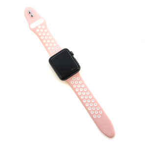 Watch Band 002a 08 sport style hole silicon rubber 38mm 40mm pink