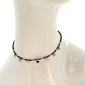 Necklace 1259a 08 Euro Collection bead charm star necklace black gold
