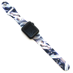 Watch Band 035a 08 silicone cut stone blue 38mm 40mm