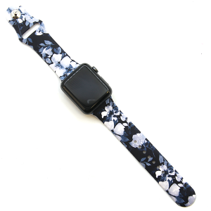 Watch Band 122a 08 floral petal watch band black blue 38mm 40mm