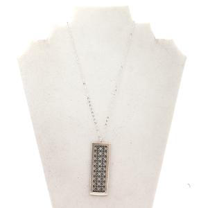 Necklace 555D 78 Project rectangle shape amulet silver