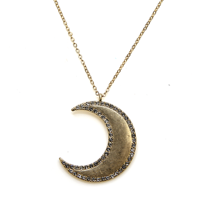 Necklace 557d 10 Avec chain crescent moon necklace rhinestones gold